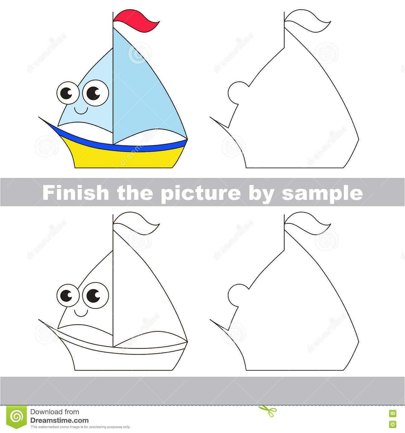 Yacht Drawing Worksheet Stock Vector Illustration Of