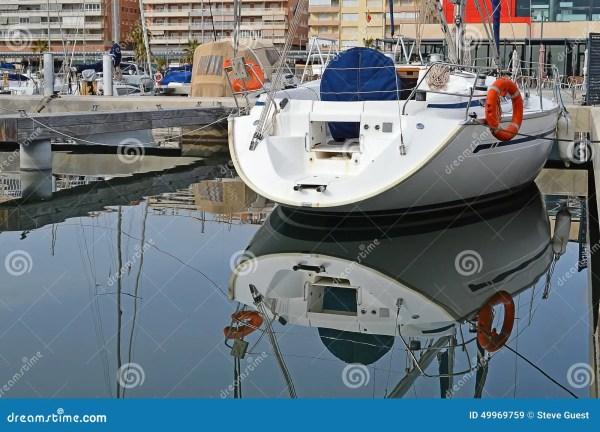 Yacht Stern Reflection-sailing Yachting Stock