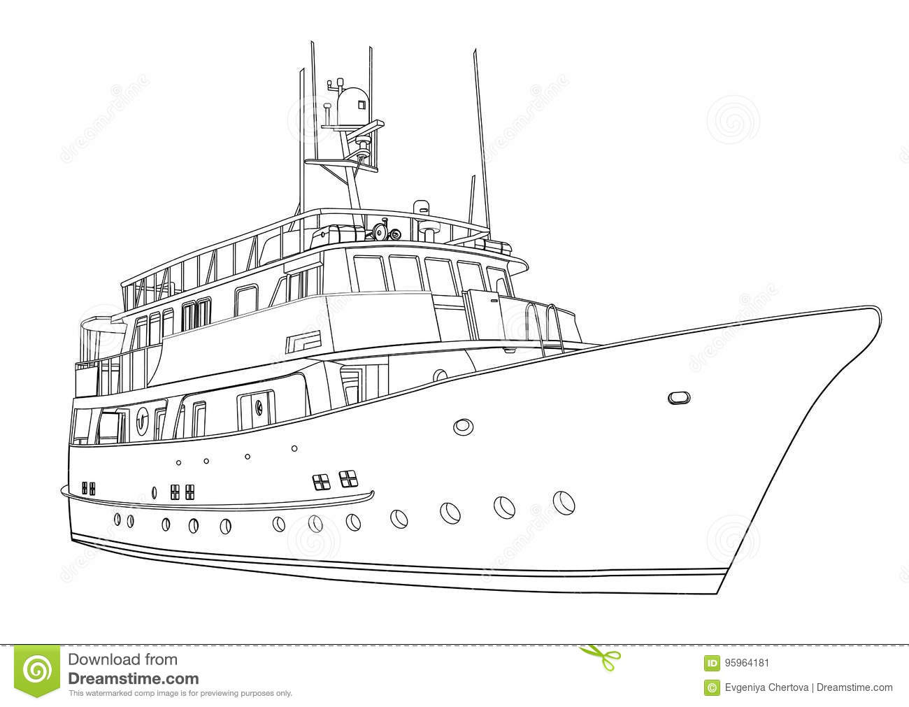 Yacht Vector, Contour Silhouette Ship On White Background