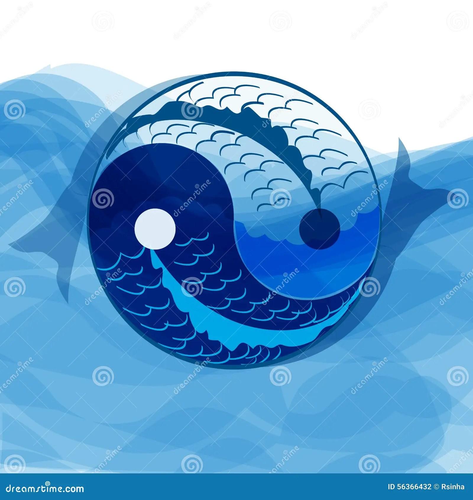 hight resolution of yan yi symbol of harmony and balance with koi fish