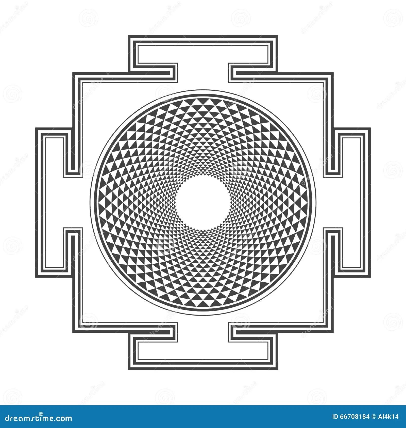 Yantraillustratie Van Sahasrara Van Het Monocromeoverzicht
