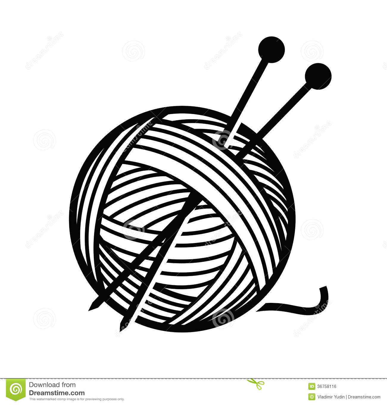 Yarn and needles stock vector. Illustration of concept