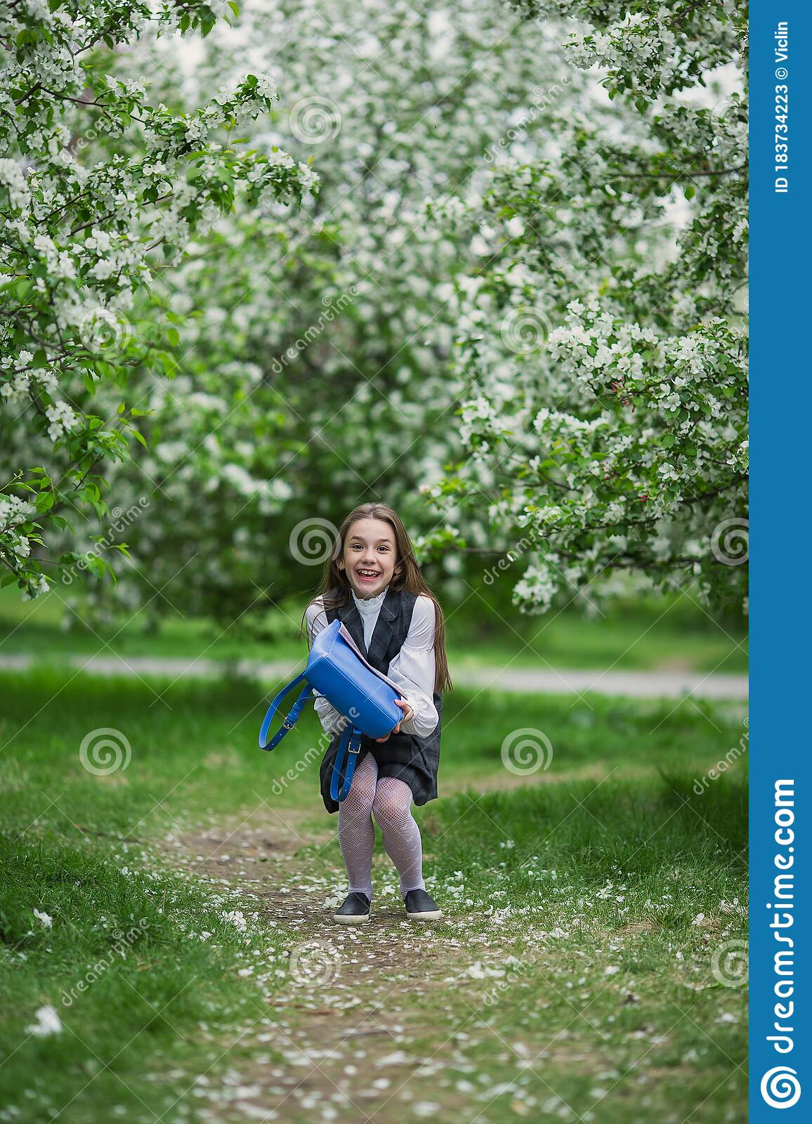 Yay Vacation Happy Girl In School Uniform With School Bag The Concept Of Pre School Education Stock Image Image Of Holiday Celebration 183734223