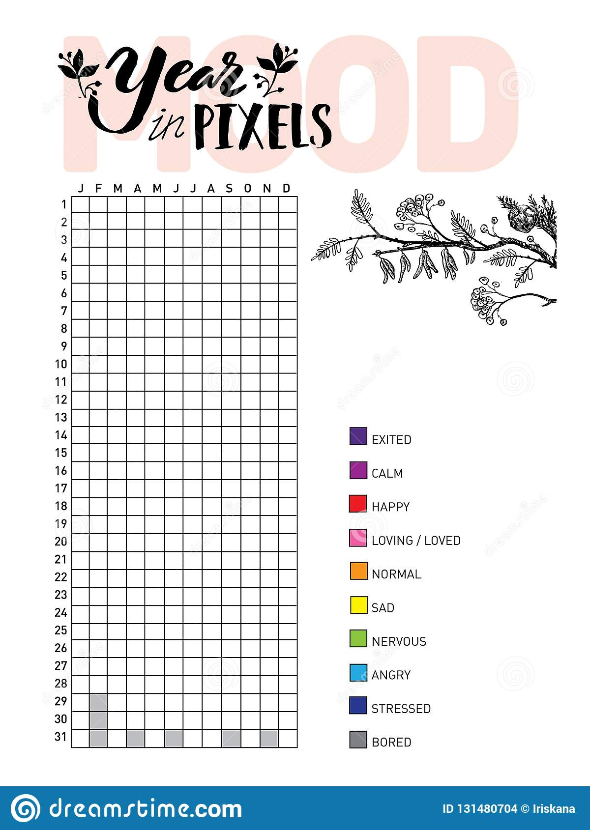 Year In Pixels Your Mood Habit Tracker Blank With Hand Written Cute Numbers And Lettering