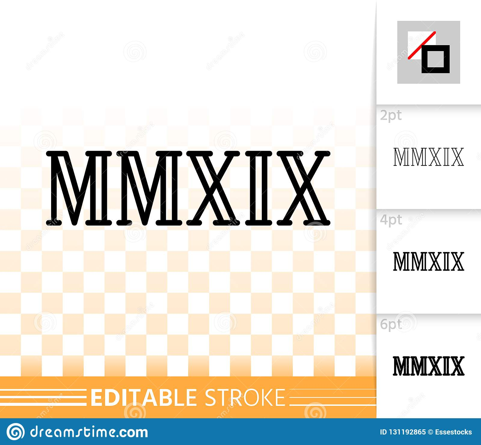 Year Mmxix Simple Black Line Vector Icon Stock Vector