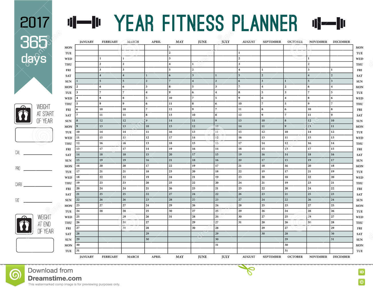 Year Wall Planner Template Plan Out Your Whole Fitness