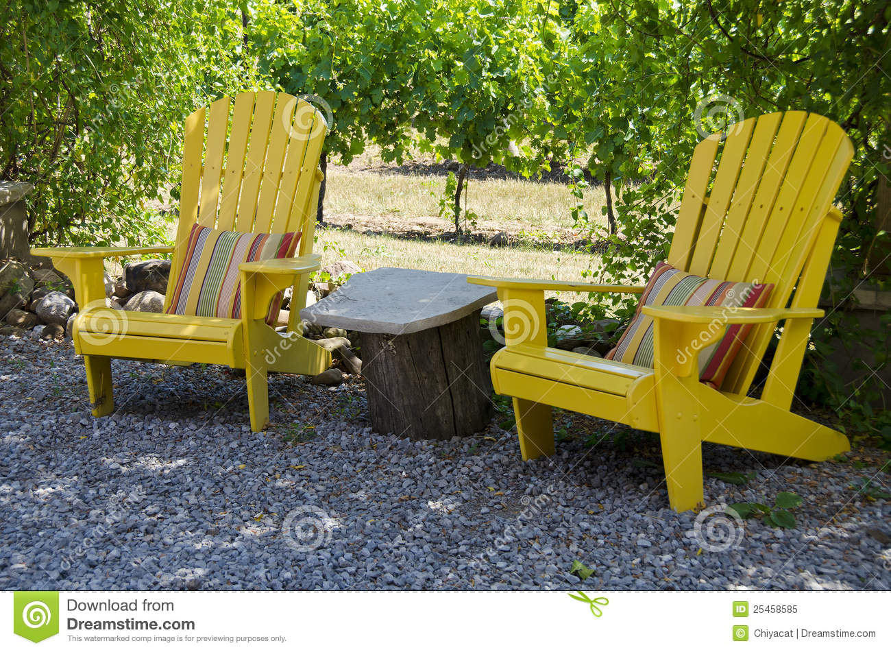 Colored Adirondack Chairs Yellow Adirondack Chairs On A Patio Stock Image Image