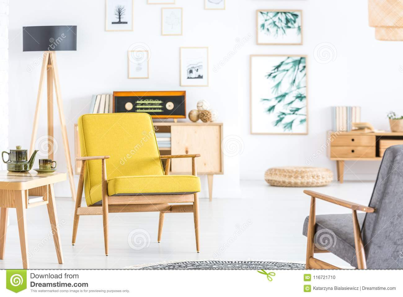 Yellow Living Room Chair Retro Yellow Living Room Interior Stock Photo Image Of Decor