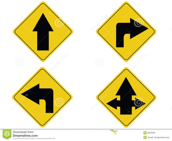 Yellow Arrow Traffic Sign Royalty Free Stock