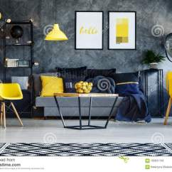Yellow Chairs For Living Room Custom Cabinets In Stock Photo Image Of Painting Dark With Poster On Concrete Wall And Lamp Above Grey Sofa