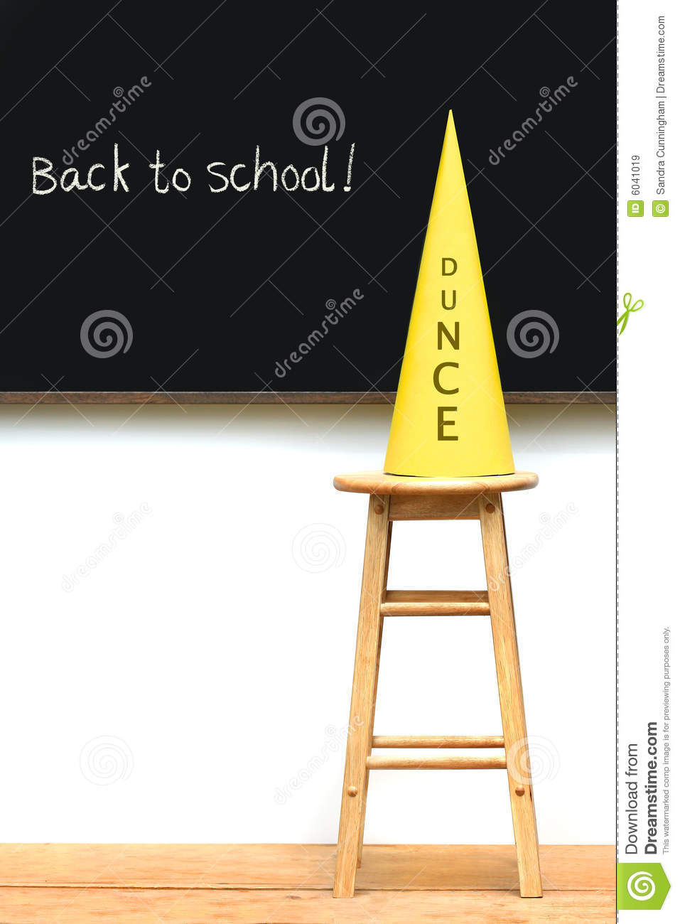 Yellow Dunce Hat On Stool Royalty Free Stock Images