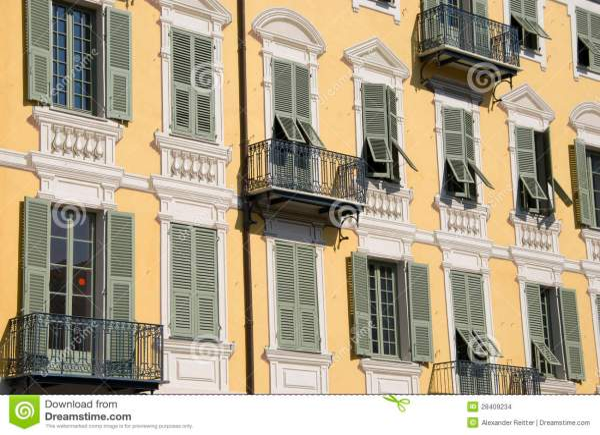 Yellow Facade Building With Fake Stucco Nice Stock - 28409234