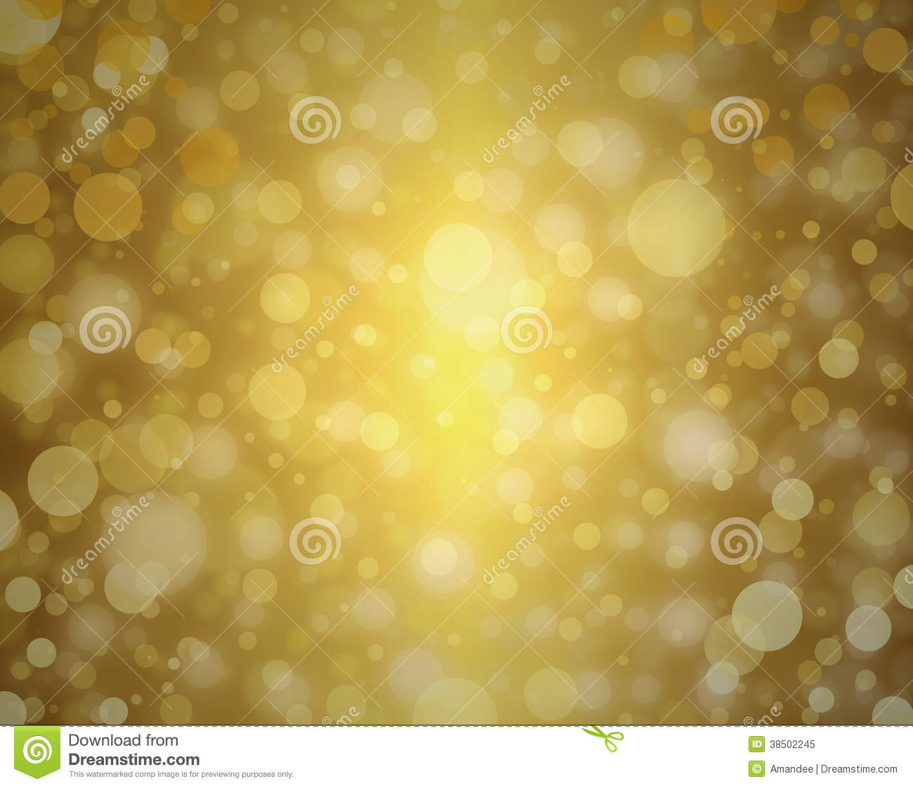 Yellow Gold Bubble Background White Christmas Lights