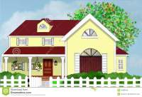 Yellow Home House With Tree And White Picket Fence Stock ...