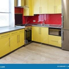 Yellow Kitchen Appliances Chalkboard Ideas Stock Image Of Hood Design Empty