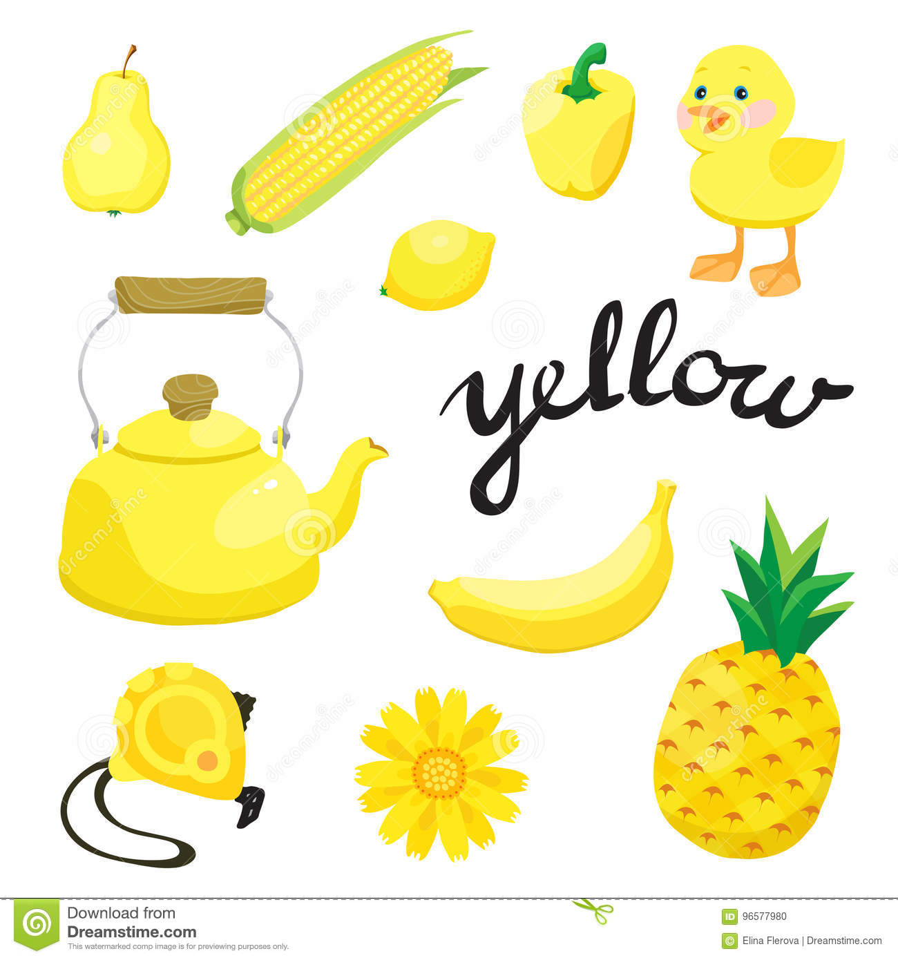 Yellow Learn The Color Education Set Illustration Of