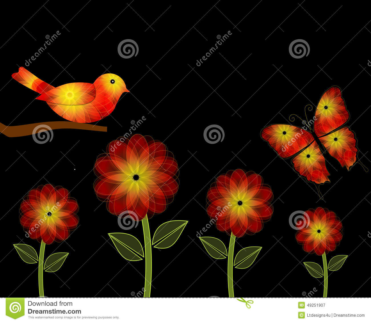 Yellow And Orange Flowers And Bird PowerPoint Background