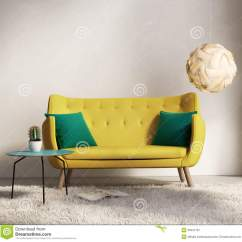 How To Decorate A Living Room Sofa Table Small Scale Leather Sectional Sofas Yellow In Fresh Interior Stock Image ...