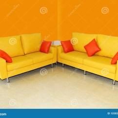 Orange Color Sofa Sets Birmingham Cinema Yellow Set With Pillows Stock Images Image 10383674