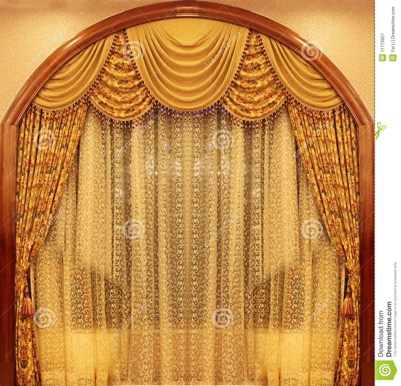 Yellow Velvet Theater Curtains Stock Image  Image of