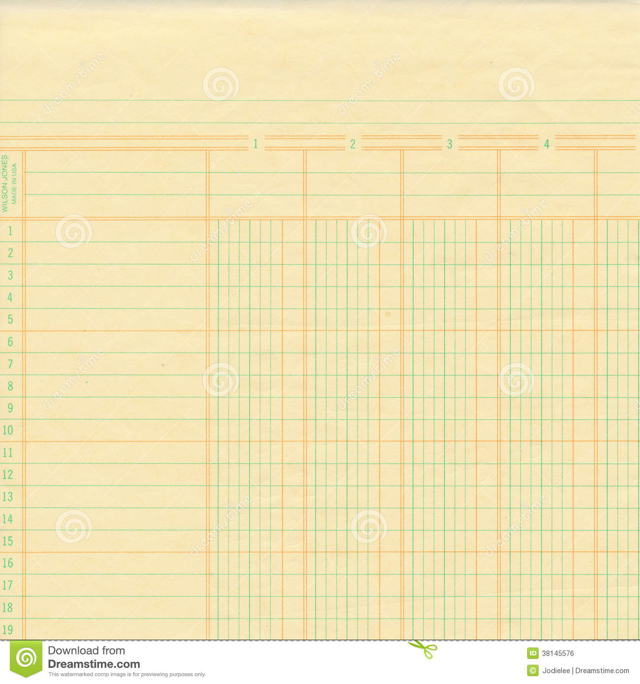 Yellow Vintage Ledger Or Graph Paper Stock Photo