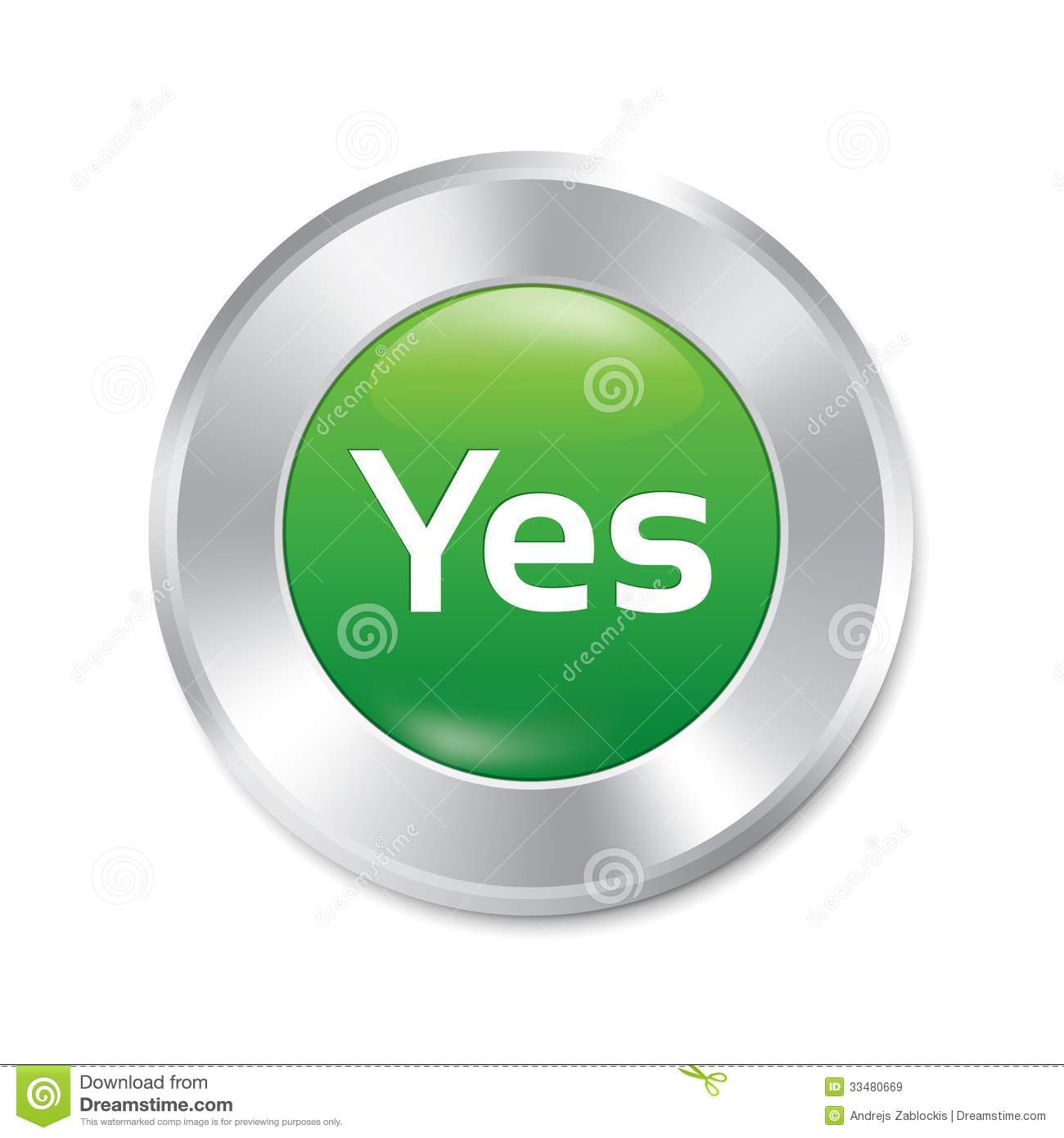Yes Button Accept Green Round Sticker Royalty Free Stock