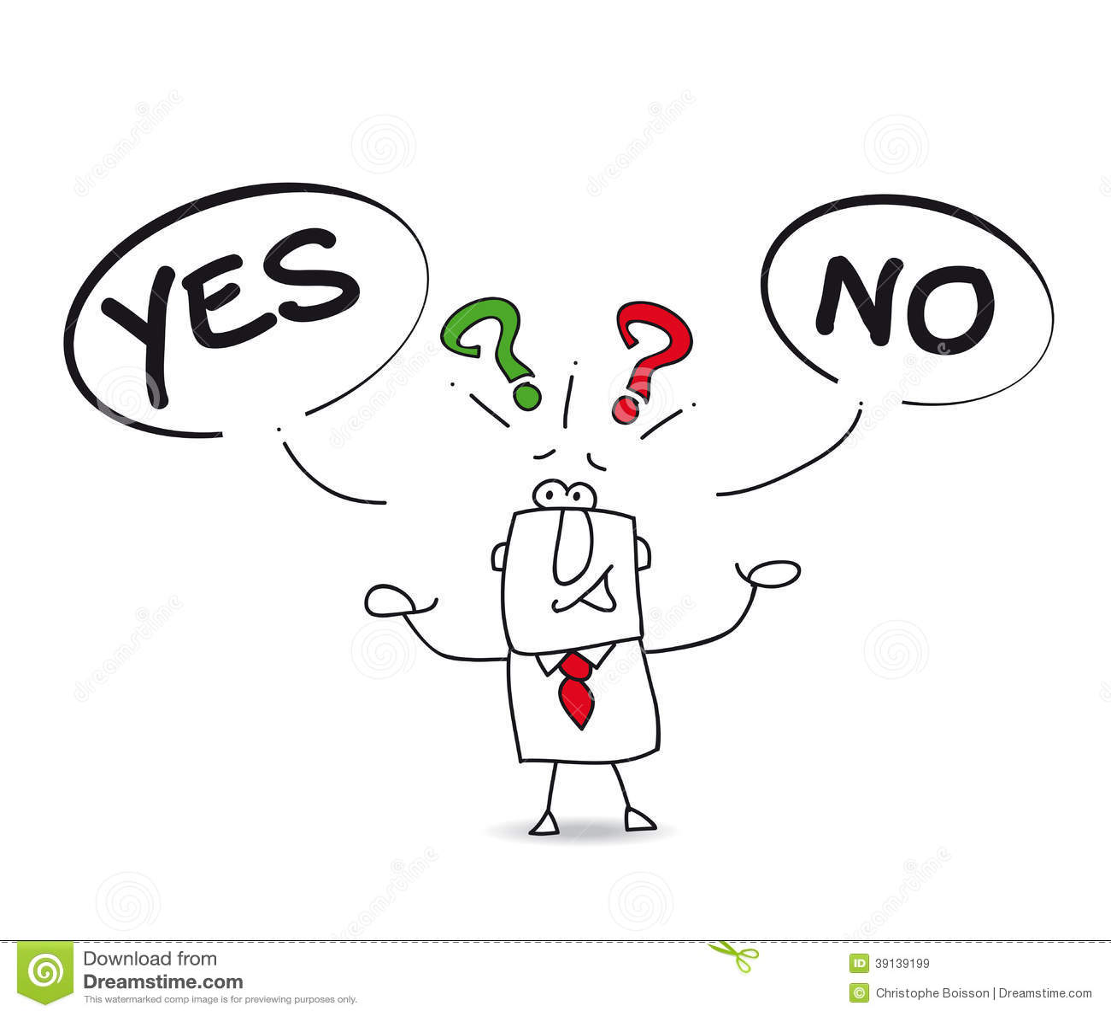 Yes Or No Cartoon Vector