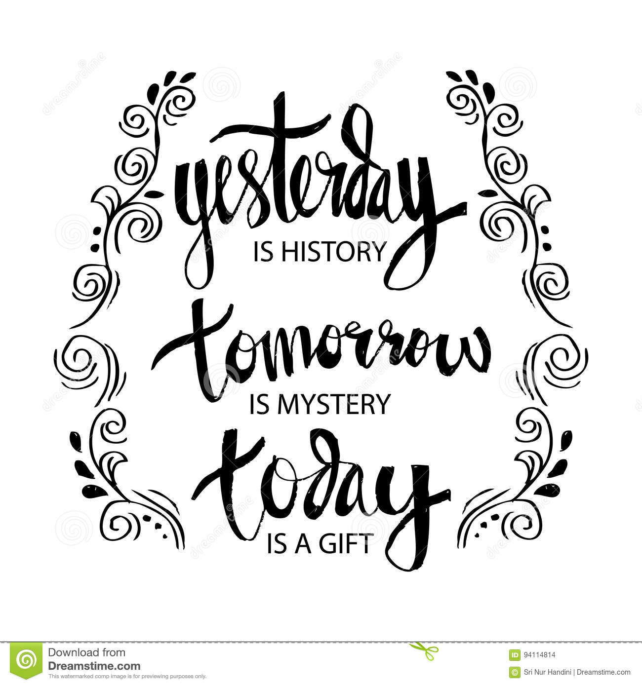 Yesterday Is History Tomorrow Is A Mystery Today Is A T