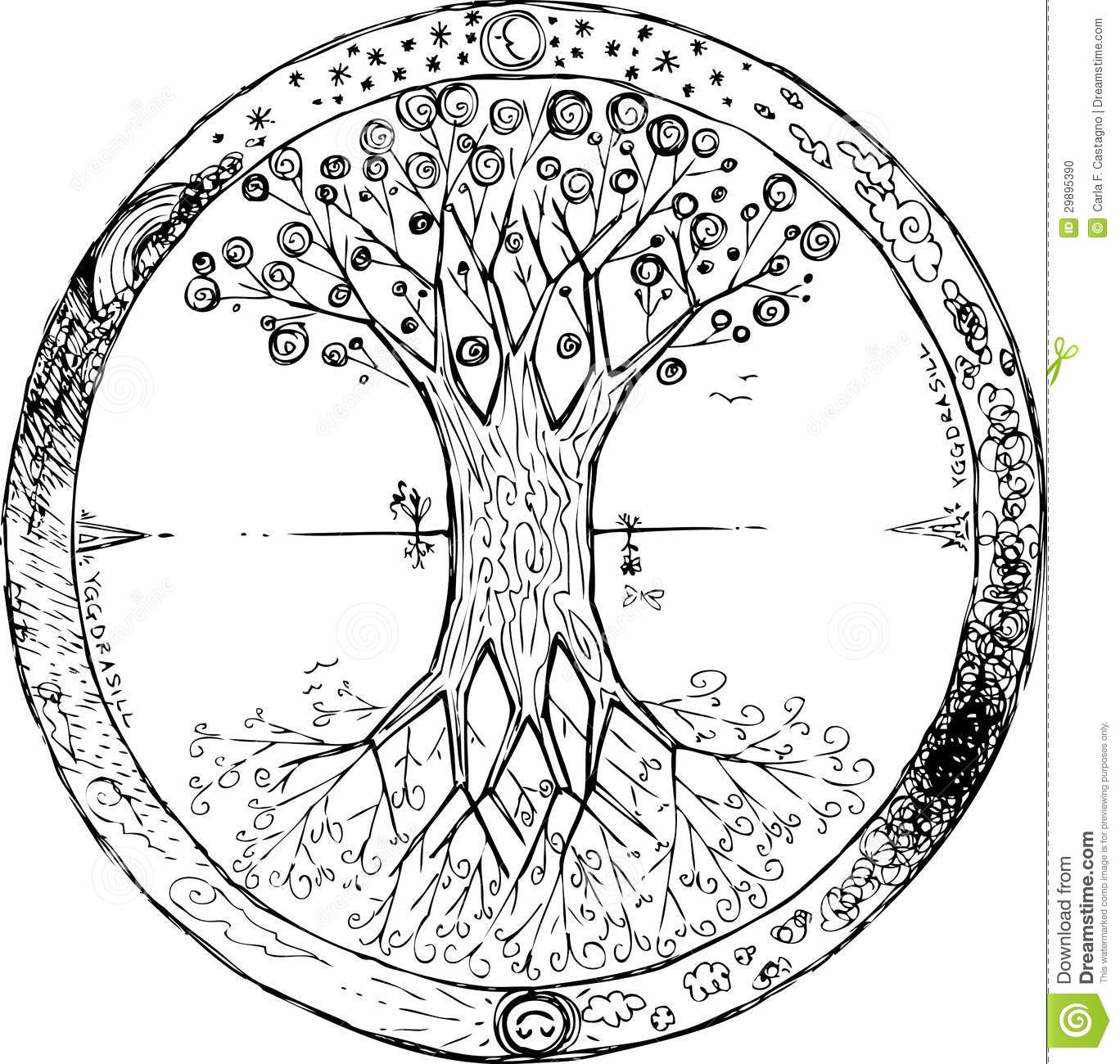 Coloring Yggdrasil: The Celtic Tree Of Life Vector Stock