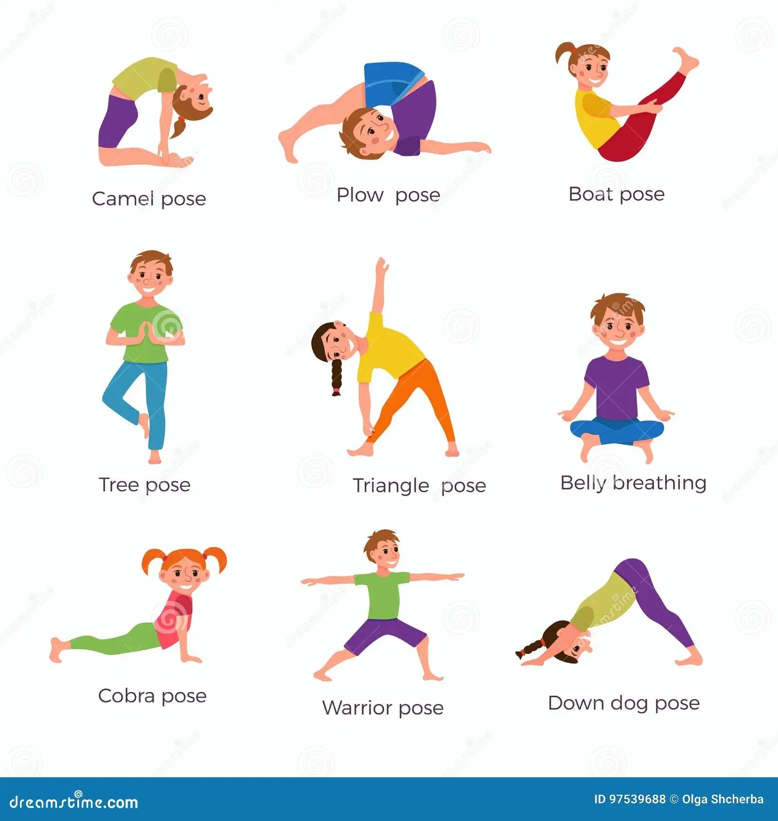 Yoga Kids Poses Set Stock Vector Illustration Of Exercise