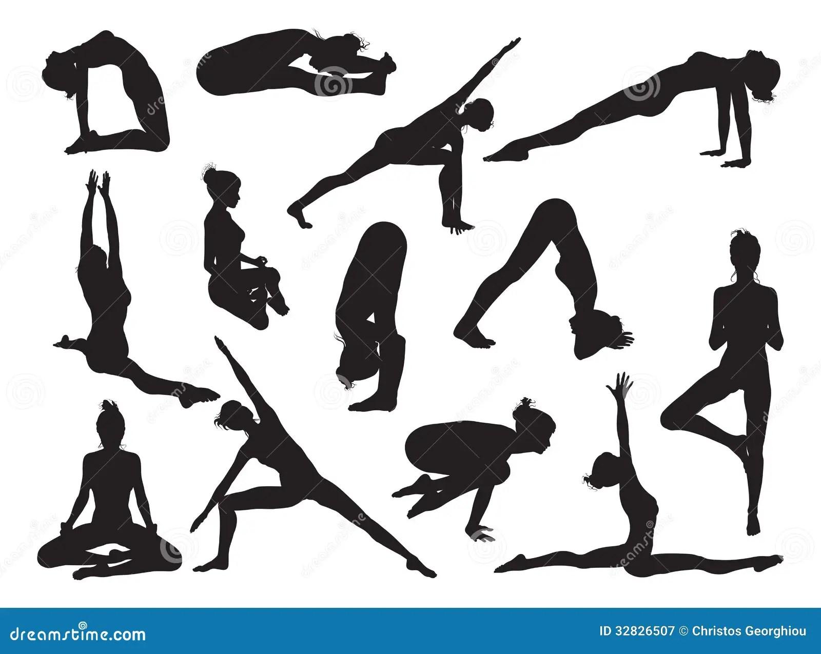 Yoga Pose Women Silhouettes Stock Vector