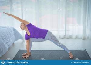 yoga calm relaxed woman morning calmly comfortable playing window asian