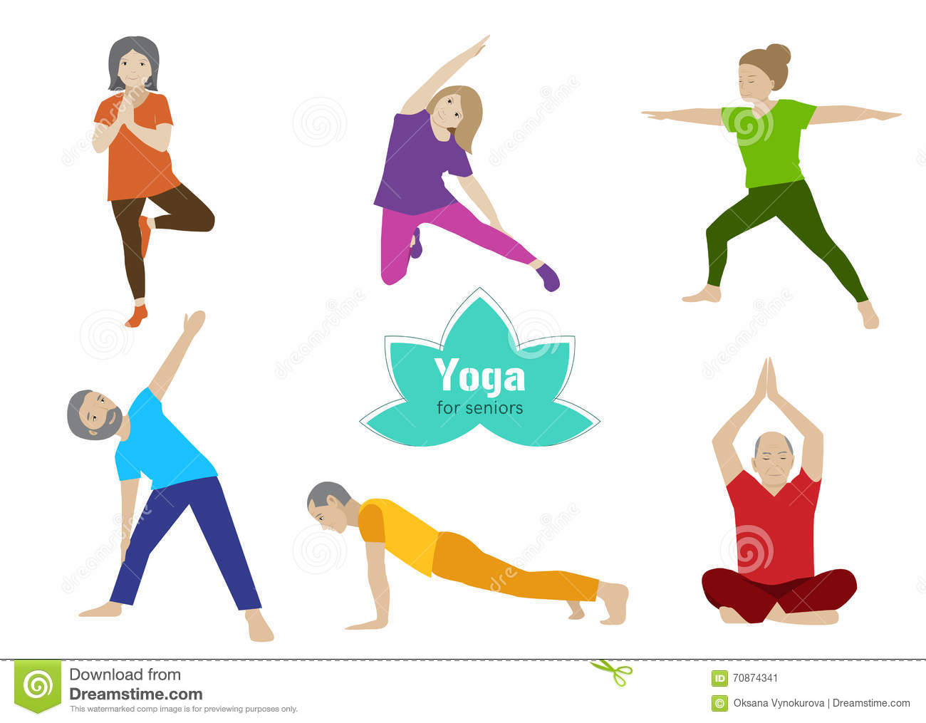 yoga for seniors set collection of stretching balance exercises