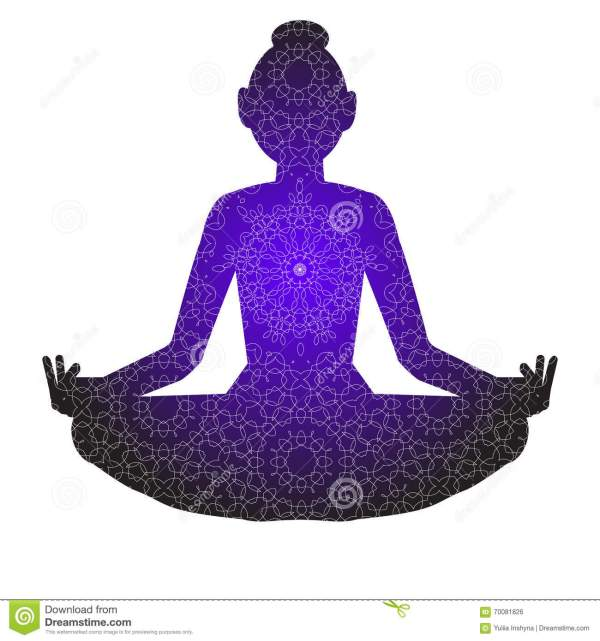 Yoga Silhouette Of Woman Stock Vector - 70081826