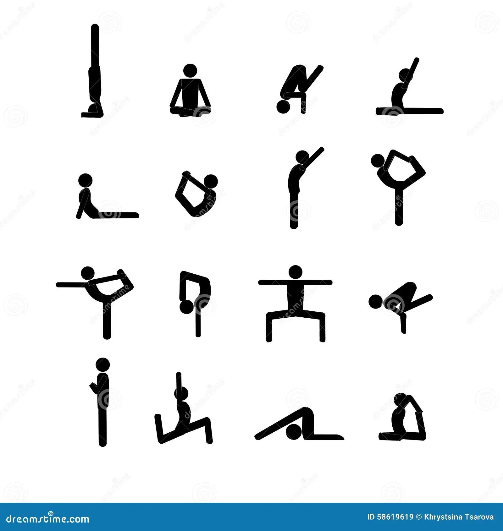 Yoga Stick Man Set Stock Vector Illustration Of Character