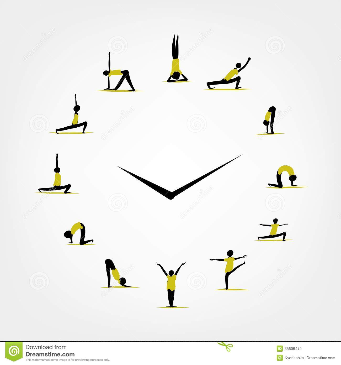 Yoga Time, Watch Concept For Your Design Royalty Free