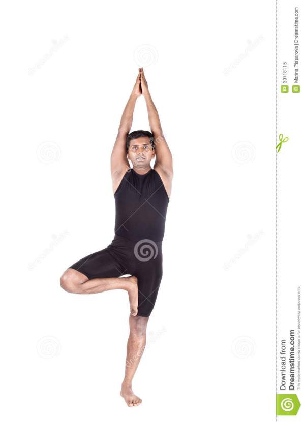 Class Standing In Tree Pose Yoga Stock