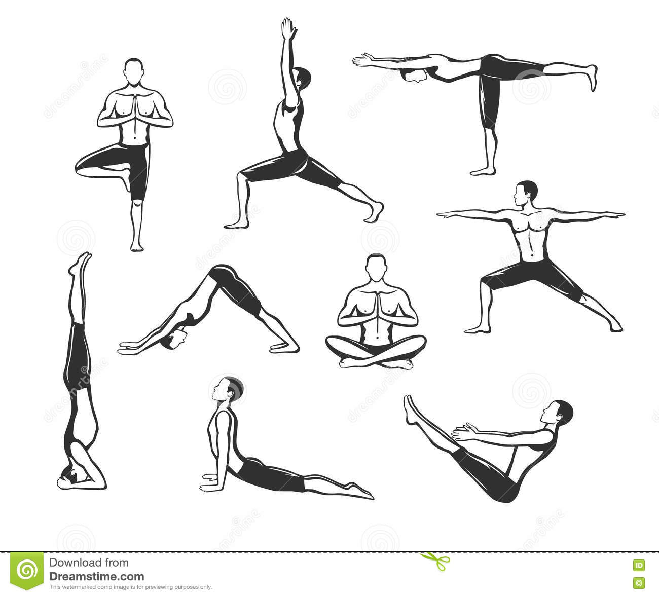 Yoga Workout Silhouettes Of A Man In Tree Sirsasana