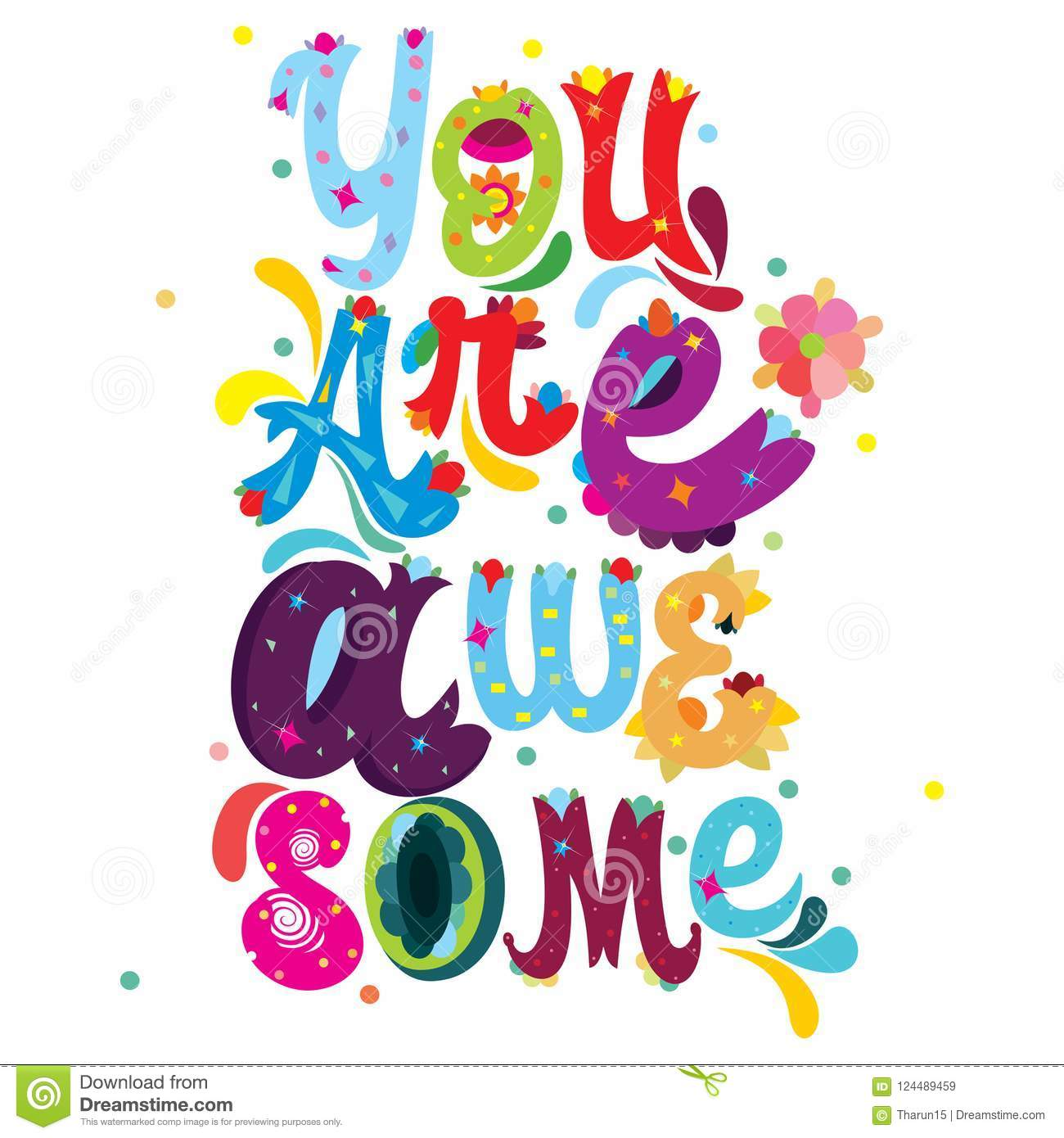 hight resolution of you are awesome colorful message with abstract floral decorative elements on an isolated white background