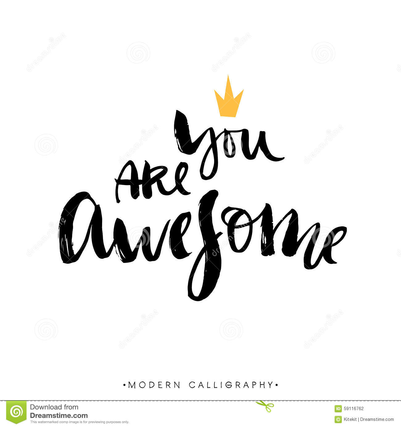 You Are Awesome Modern Brush Calligraphy Handwritten