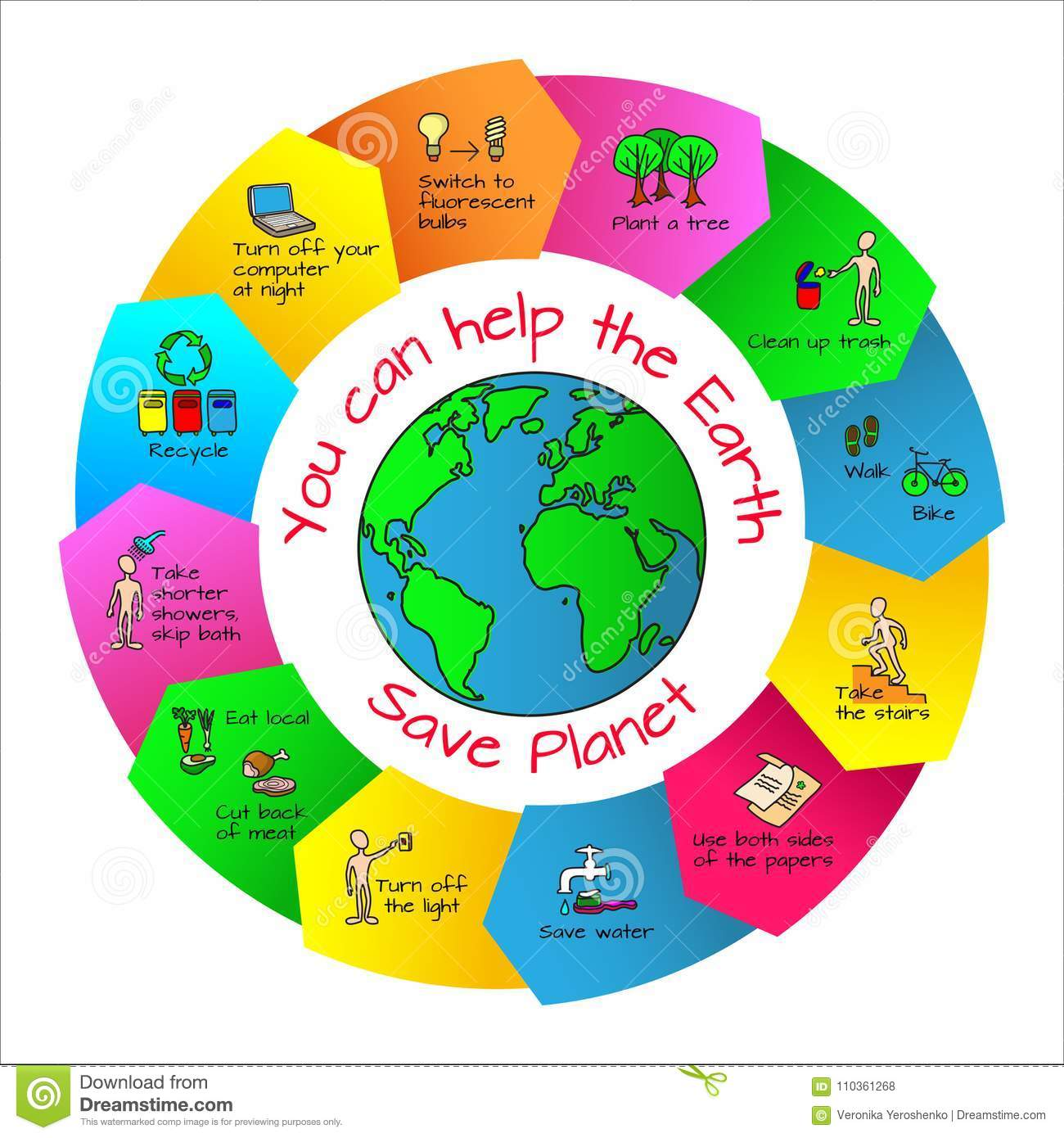 You Can Help The Earth Ecology Infographics Stock Vector