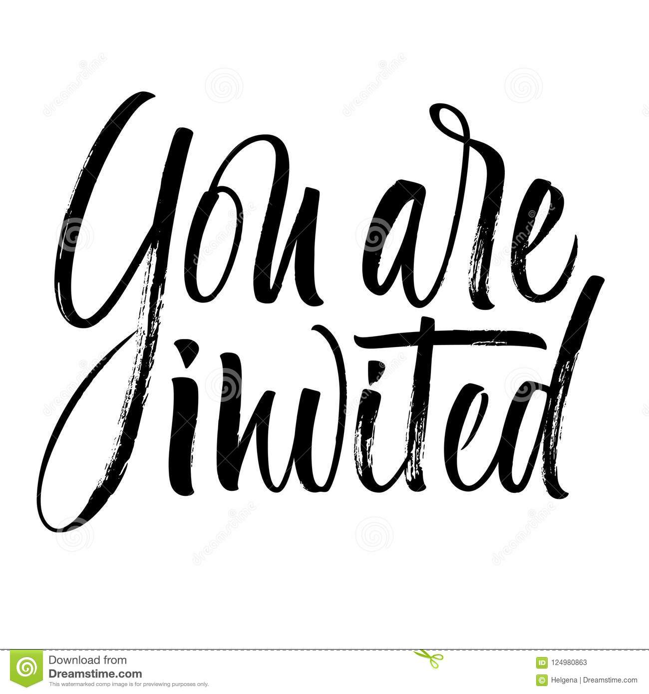 You Are Invited Lettering Stock Vector Illustration Of