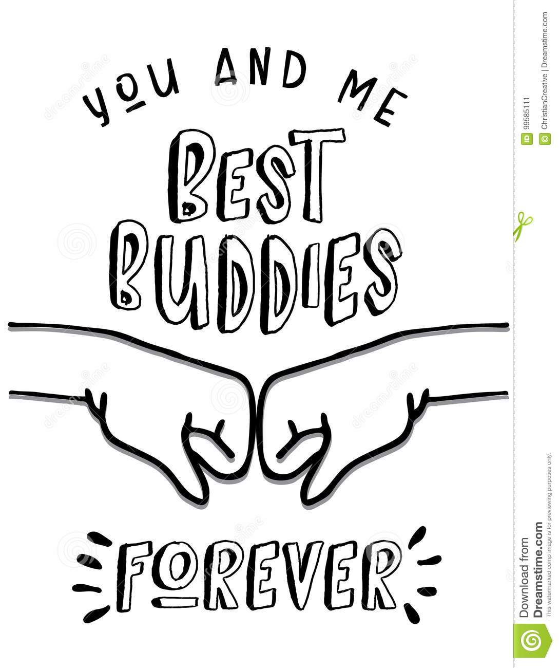 You And Me Best Buddies Forever Stock Vector
