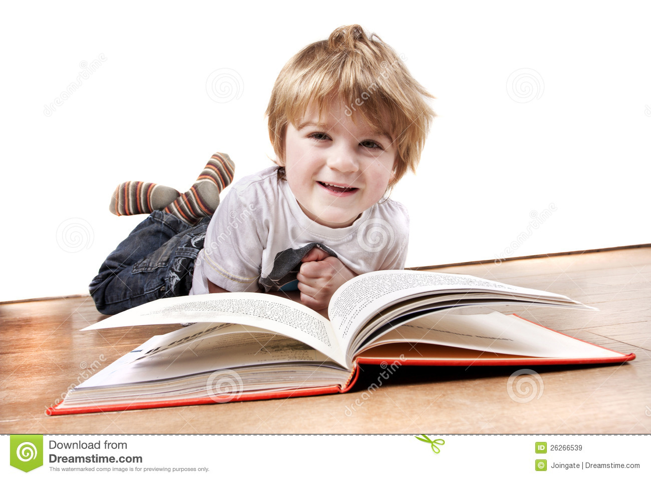Young 4 Year Old Boy Reading A Book Royalty Free Stock