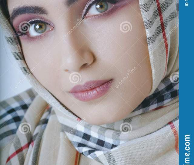 Young Arab Girl With Oriental Makeup In Hijab