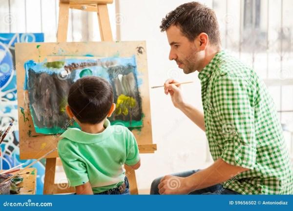 Young Art Teacher Job Stock - Of