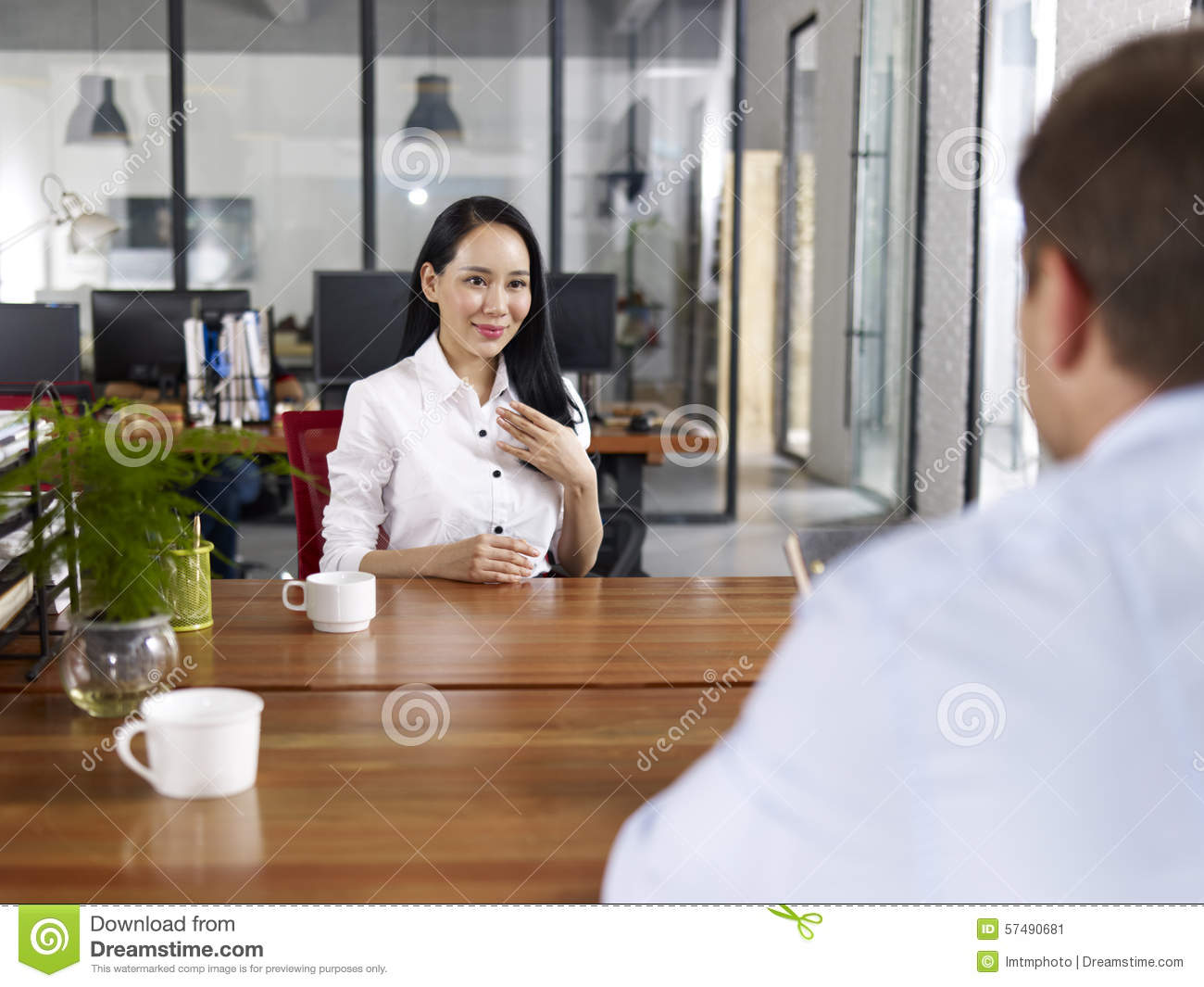 Young Asian Business Executive Being Interviewed Stock