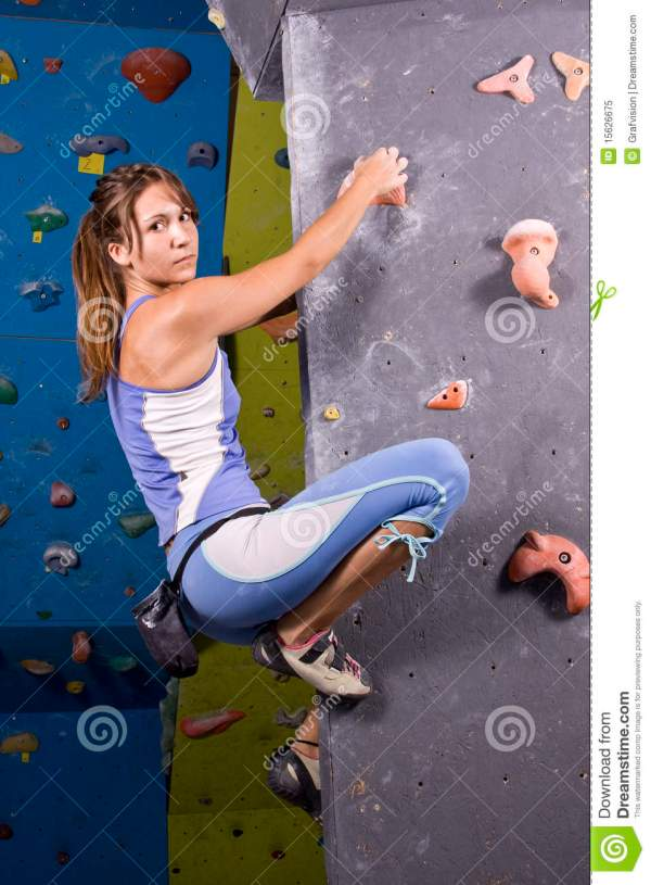 Young Athletic Girl Climbing Stock - Of Rock