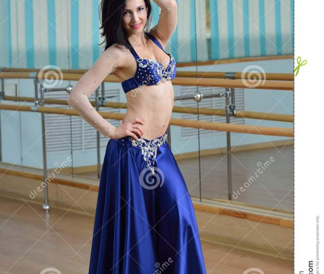 Young Beautiful Belly Dancer In Arabic Costume Oriental Dance