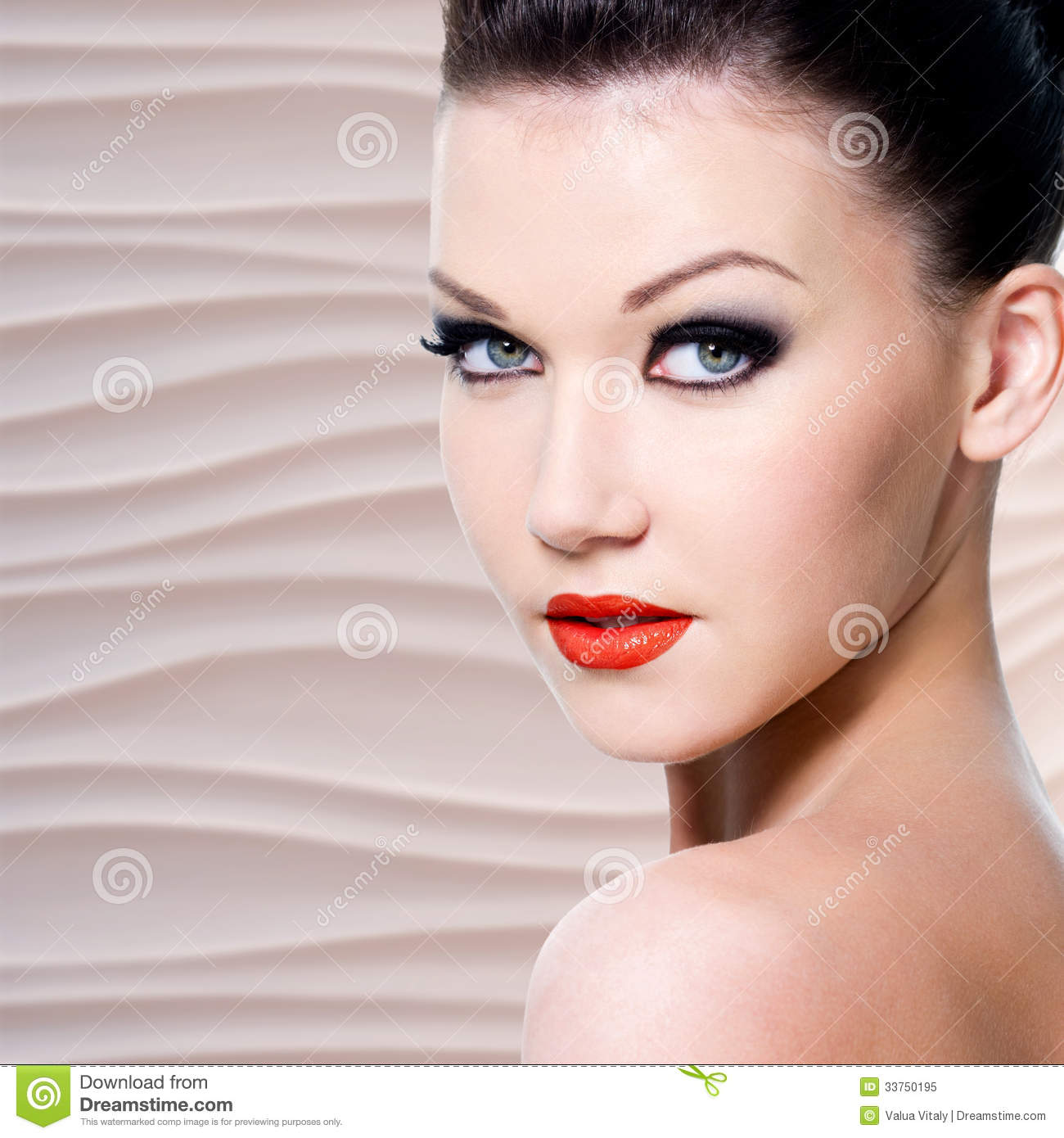 Head With Eye Makeup With Red Lipstick